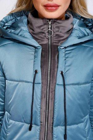 Куртка БЕЗ ОРГ % ОТЛИЧНАЯ КУРТКА! ОЧЕНЬ ТЕПЛАЯ И ЛЕГКАЯ. БИРЮЗА. Рост:170, Утеплитель:Termofinn, Ткань верха:Полиэстер 100%. Стильная укороченная куртка из плащевой ткани с бархатными элементами. З