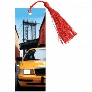 """Закладка для книг 3D с линейкой, 150*55мм, ArtSpace """"Нью-Йорк"""", декоративный шнурок"""