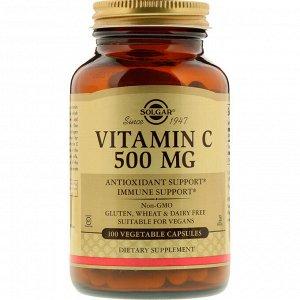 Витамин C, 500 мг, 100 вегетарианских капсул