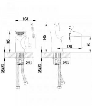 """LM3246C """"Атлантисс"""" Смеситель для умывальника монолитный, каскадный, хром"""