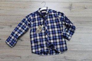 Рубашка Утепленная рубашка для мальчика, с длинным рукавом, на рукавах - декоративные латки.  Маломерит, проверяйте замеры  6-7лет(рост 116): длинна 52.5,рукав 40,пог 38.5 8-9лет(рост 128см):длинна  5