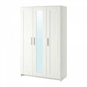 БРИМНЭС Шкаф платяной 3-дверный, белый