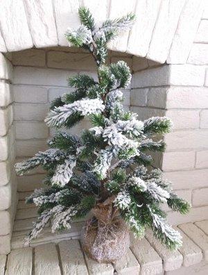 Елка 90 см в снегу, в джутовой основе