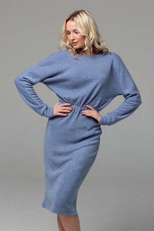 Платье миди из ангоры голубое
