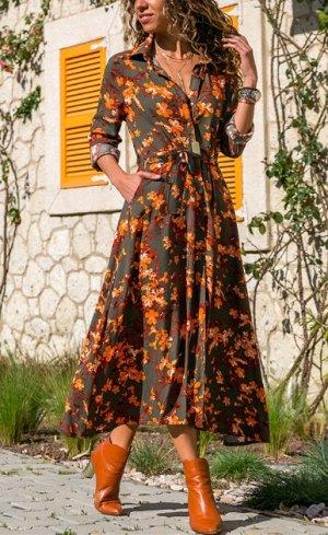 Платье-рубашка в цветочек