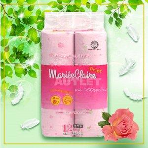 """IDESHIGYO Туалетная бумага двухслойная """"MARIEE CLAIRE"""", розовая с принтом, 27.5 м, 12 рулонов"""
