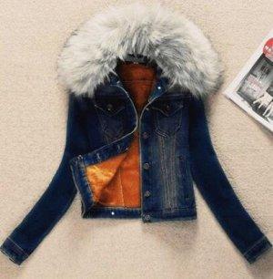 Утепленная джинсовая куртка темно-синяя