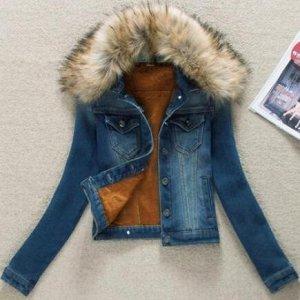 Утепленная джинсовая куртка синяя