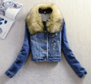 Утепленная джинсовая куртка светло-синяя
