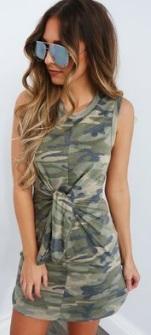Платье в стиле милитари без рукавов Цвет: ТЕМНО-ЗЕЛЕНЫЙ