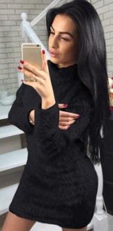 Платье-свитер с длинными рукавами Цвет: ЧЕРНЫЙ