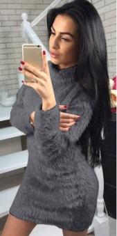 Платье-свитер с длинными рукавами Цвет: ТЕМНО-СЕРЫЙ