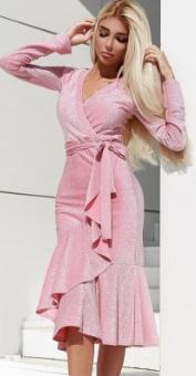 Блестящее платье с эффектом запаха и длинными рукавами Цвет: РОЗОВЫЙ