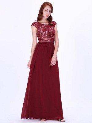 Красивое бордовое длинное вечернее платье с кружевным топом, шифоновой юбкой и круглым вырезом