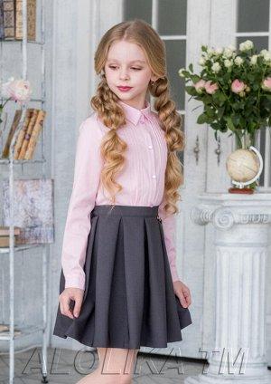 Ритм серый Восхитительная юбка для девочек школьного возраста. На талии имеется резинка, украшают модель мягкие, струящиеся складки. Застежка на пуговицу и молнию. Состав: 100% полиэстер