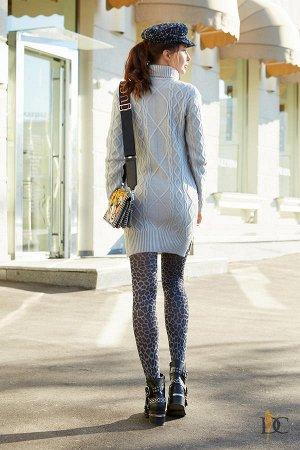 Domenica - Теплая туника-платье с красивым узором Серый