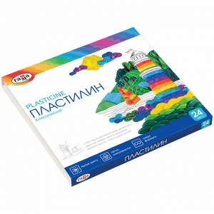 "Пластилин Гамма ""Классический"", 24 цвета, 480г, со стеком, картон. упак."