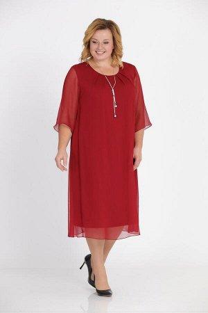Платье Платье Pretty 1003 бордо  Рост: 164 см.  Свободное платье из шифона на трикотажной подкладке. Просторная накидка из шифона закреплена в округлой горловине и в проймах. Расширенные рукава из ши
