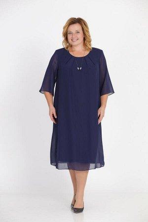 Платье Платье Pretty 1003 темно-синее  Рост: 164 см.  Свободное платье из шифона на трикотажной подкладке. Просторная накидка из шифона закреплена в округлой горловине и в проймах. Расширенные рукава