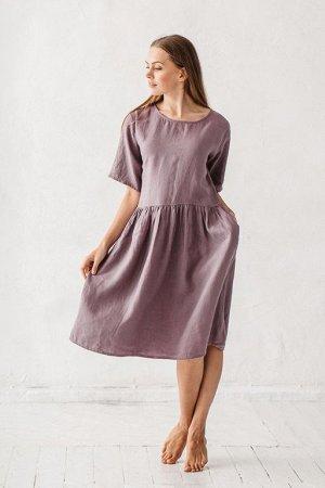 Льняное платье ЗЕЛЁНОЕ