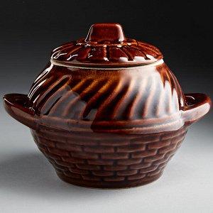 Горшок для запекания 0,5 л БДИ-9827 ВЬЮНОК (керамика) (ручная работа)