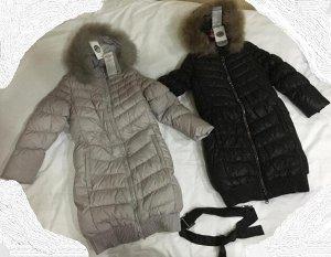 Пуховое пальто серое