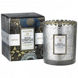 Белая смородина и альпийские кружева в подарочной коробке / White Currants & Alpine Lace Boxed Scalloped Candlepot