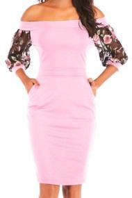 Платье с открытыми плечами и рукавами средней длины декорированными вышивкой Цвет: РОЗОВЫЙ