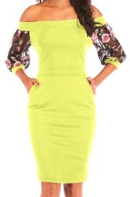 Платье с открытыми плечами и рукавами средней длины декорированными вышивкой Цвет: ЖЕЛТЫЙ