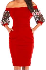 Платье с открытыми плечами и рукавами средней длины декорированными вышивкой Цвет: КРАСНЫЙ