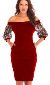 Платье с открытыми плечами и рукавами средней длины декорированными вышивкой Цвет: БОРДО