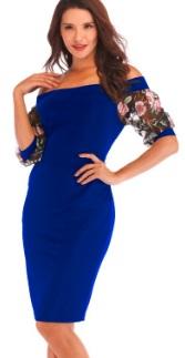 Платье с открытыми плечами и рукавами средней длины декорированными вышивкой Цвет: СИНИЙ/РОЗОВЫЙ