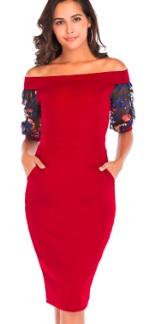 Платье с открытыми плечами и рукавами средней длины декорированными вышивкой Цвет: КРАСНЫЙ/СИНИЙ