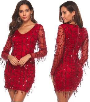 Платье с длинными рукавами расшитое пайетками Цвет: БОРДО