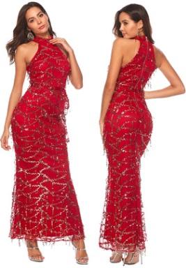Платье-макси без рукавов расшитое пайетками Цвет: БОРДО