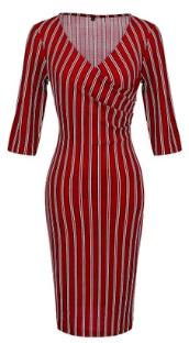 Платье в полоску с рукавами средней длины Цвет: БОРДО