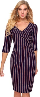 Платье в полоску с рукавами средней длины Цвет: ТЕМНО-СИНИЙ