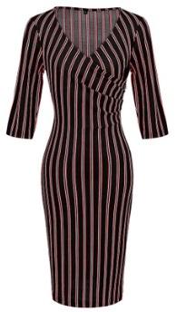 Платье в полоску с рукавами средней длины Цвет: ЧЕРНЫЙ