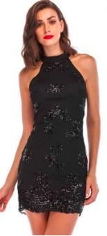 Платье без рукавов расшитое пайетками Цвет: ЧЕРНЫЙ