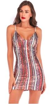 Платье на тонких бретелях расшитое пайетками Цвет: КРАСНЫЙ