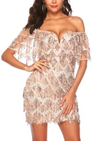 Платье с открытыми плечами расшитое пайетками Цвет: ЗОЛОТИСТЫЙ