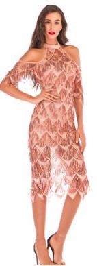 Платье с открытыми плечами и рукавами средней длины расшитое пайетками Цвет: ЗОЛОТИСТЫЙ