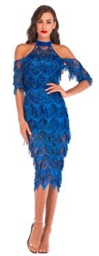 Платье с открытыми плечами и рукавами средней длины расшитое пайетками Цвет: СИНИЙ