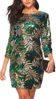 Платье с рукавами 3/4 расшитое пайетками Цвет: ЗЕЛЕНЫЙ