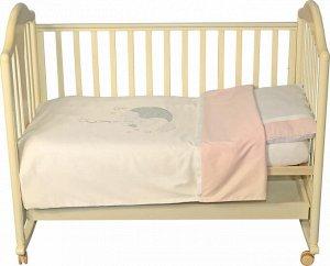 Комплект постельного белья с вышивкой Мишка звездочет Розовый 147х112