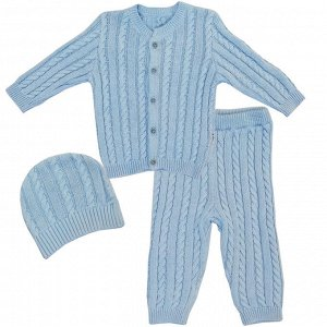 Комплект 3 пр. вязаный кофточка, штанишки и шапочка Голубой