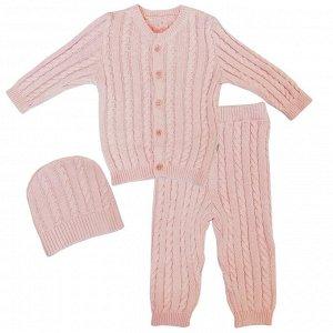 Комплект 3 пр. вязаный кофточка, штанишки и шапочка Розовый