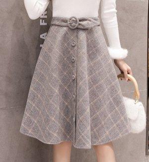 Шерстяная юбка, серый