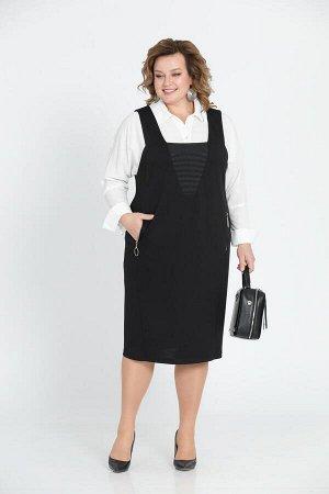 Костюм Костюм Pretty 604 черный/белый  Рост: 164 см.  Оригинальный комплект из сарафана и блузки выглядит деловито и нарядно одновременно. Блуза цельновыкроена с рукавами, воротник сорочечного типа с