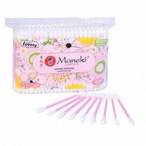 """Палочки ватные гигиен. """"Maneki"""" Lovely, с розовым пластиковым стиком, в zip-пакете"""